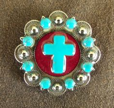 Bling Conchos Stone Cross Turquoise Berry Concho - Texas Uniques Store