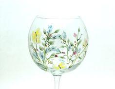 Wild Flower Wine Glasses Set of Six by RaiseYourGlassShop on Etsy