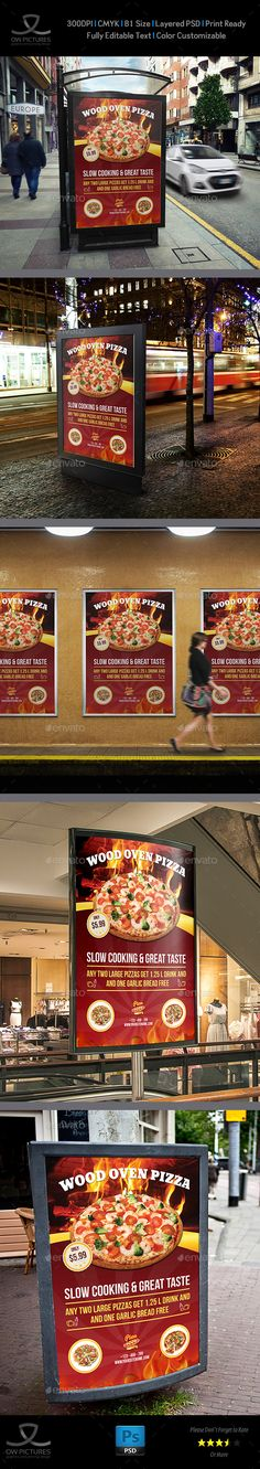 Pizza Restaurant Poster Template Vol.2  — PSD Template #chef #leaflet #27.8x39.4…