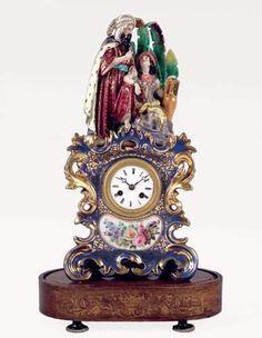 PENDULE A Very Important  French Porcelain (Porcelaine De Paris) Mantel Clock Representing The Sultan And The Sultana.  By Jacop Petit Circa1840