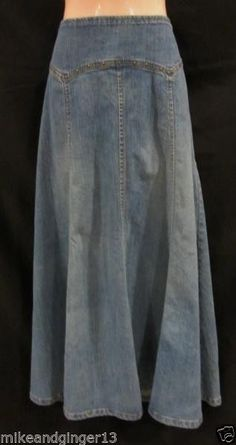 KIKIT JEANS~size 12 Skirt~Long Denim Jean A Line Maxi Metal Studs Modest Ankle #KIKITJEANS #ALine       L@@K!!!!!