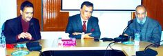 Prof. Amitabh Mattoo former Vice-Chancellor University of Jammu delivering a talk at Kashmir University on Saturday.