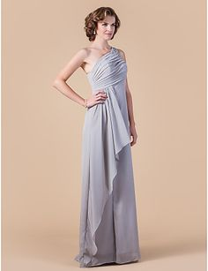 Sheath   Column One Shoulder Floor Length Chiffon Mother of the Bride Dress  with Beading Crystal Detailing Draping Split Front Side be395b5ecea2