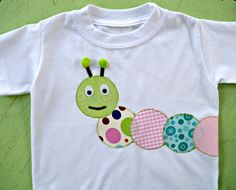 Caterpiller Applique Shirt Toddler Girl / Sale by vpettet on Etsy, $10.00