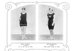 What Olympians looked liked 100 yrs. ago - Swimsuits provided ample coverage in 1912. At left is a competitor in the 100-meter freestyle. At right is a diver.