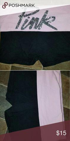 Victoria's Secret Pink Black and light pink yoga shorts with sequin lettering. PINK Victoria's Secret Shorts