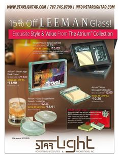 15% off these LEEMAN Glass Gifts, whiles supplies last!!! >> info@starlightad.com #promotionalgifts #branding #holiday #giftideas