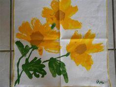 Vintage Vera Bright Yellow Flower Napkins 4 | eBay