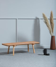 this wooden design bench is caracterized by its simple design and composition all made with beech, teak varnished Modern Wood Furniture, Furniture Design, Decoration Entree, Simple Designs, Interior Architecture, Teak, Living Room, Table, Attention