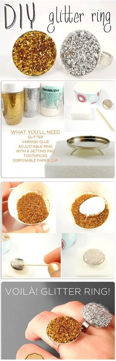 DIY Glitter Rings diy crafts craft ideas easy crafts diy ideas crafty easy diy diy jewelry diy fashion diy ring jewelry diy craft fashion craft ring diy tutorial diy picture tutorial