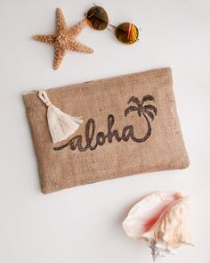Pink Aloha Zipper Pouch Burlap