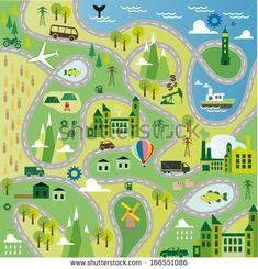 Cartoon map seamless pattern with roads