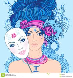 Illustration of gemini zodiac sign as a beautiful girl with mask