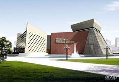 Кинотеатр: архитектура, 3 эт | 9м, модернизм, 500 - 1000 м2, фасад - кирпич, кинотеатр, здание, строение, фасад - стекло #architecture #3floors_9m #modernism #500_1000m2 #facade_brick #cinema #highrisebuilding #structure #facade_glass