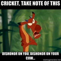 """This is now our """"Family movie line of the year"""" Dishonor on you cow...   <3 Mulan"""