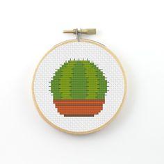 Round cactus cross stitch pattern cactus pattern by ringcat