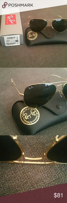 Brand new Ray-Ban rb3025 aviator 58m Gold frame, ready to ship. No trades or lowball offers. With a classic gold frame, you can see the world through a variety of lens colors including crystal brown, crystal green, G-15 polarized and more that provide optimum visual clarity and 100% UV protection. Ray-Ban Accessories Sunglasses