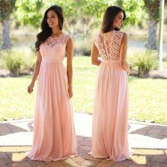 2016 Custom long chiffon Bridesmaid Dress,Sleeveless Bridesmaid Dress ,Pink Lace See THrough Bridesmaid Dress - Thumbnail 1