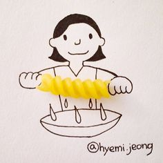 the kids to choose an every day object to make a drawing from.  Creative Artworks by Hyemi Jeong