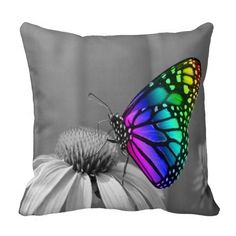Gorgeous Butterfly On Flower Throw Pillow - bright neon rainbow colorful butterfly, black and white flower