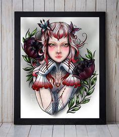New print for sale on my etsy shop:  http://etsy.me/2mXAEnS Available on gloss photo paper, archival matte paper, and metallic pearl paper.  #art #print #giclee #girlart #girlartprint #poppy #cutegirlart #burlesquegirl