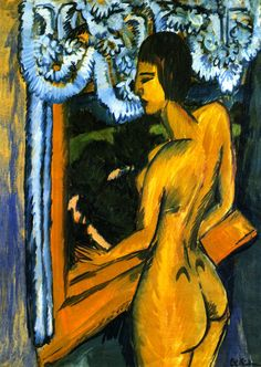 ERNST LUDWIG KIRCHNER  Brauner Akt am Fenster (Brown Female Nude at the Window, 1912)