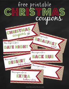 Free Printable Christmas coupons. They can be personalized and given to anyone. Printable coupons make for a very thoughtful Christmas gift.