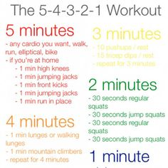 5-4-3-2-1 Workout: only 15 minutes! perfect right before a shower in the morning
