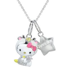 """Capricorn: December 22 -January 19 Hello Kitty offers a fun and fashionable way to announce """"your sign"""" to the world! 18-karat white and yellow gold with enamel and pave diamond accents. 18"""" sterling silver chain."""