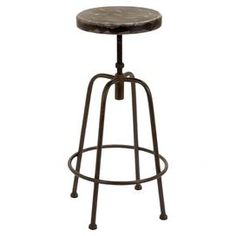 "Industrial metal stool with a weathered seat. Suitable for outdoor use.   Product: BarstoolConstruction Material: MetalColor: BlackFeatures:  Suitable for indoor and outdoor useCharming designWill enhance any décor Dimensions: 32"" H x 16"" DiameterCleaning and Care: Wipe with dry cloth"