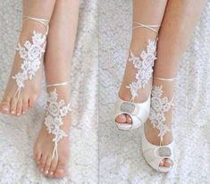 Unique Lace sandals ivory Beach wedding barefoot sandalshand-embroidered barefoot sandals belly dance shoesme rruzaaksesore me rruzarruza per kembe Bridal Shoes, Wedding Shoes, Wedding Dresses, Barefoot Sandals Wedding, Wedding Jewelry, Wedding Dress Accessories, Bare Foot Sandals, Me Too Shoes, Jewels