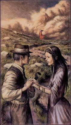 """Lovers"" card from The Dark Grimoire Tarot by Michele Penco & Giovani Pelosini"