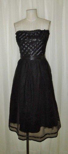Laundry Shelli Segal Black Silk Cocktail Strapless Mid Calf Dress Size 10