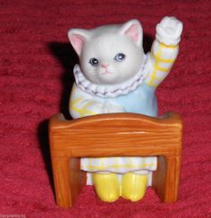 Vtg B. Shackman Kitty Cucumber Schmid Cat Figurine School Girl Priscilla Kitten