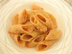 Pennoni pasta with eggplant tomato souce
