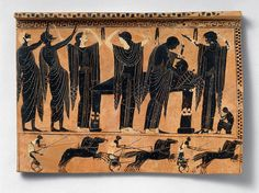 Ancient greek funeral. Women tear their hair, as Achilles will when he hears of the death of Patroclus