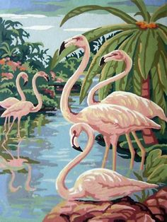 Paint by number flamingos