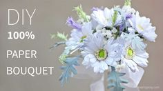 DIY bridal bouquet of Gerbera Daisy from printer paper, FREE template, S...