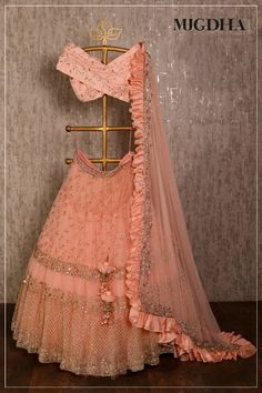 dress Indian party wear - Peach net lehenga choli dupatta party wear wedding wear indian dress custom stitched made to order dress for women's. Indian Lehenga, Net Lehenga, Bridal Lehenga Choli, Anarkali, Lehenga Wedding, Lehenga Gown, Ghagra Choli, Pakistani Bridal, Indian Wedding Outfits