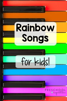Rainbow songs are an essential part of one of my favorite preschool themes: rainbows! Whether you are a studying a weather theme, colors theme, St. Patrick's Day theme, or even just having a rainbow theme, these songs will be sure to make it a great time! Music Activities For Kids, Circle Time Activities, Rainbow Activities, Preschool Songs, Preschool Themes, Music For Kids, Kids Songs, Rainbow Songs, Rainbow Theme