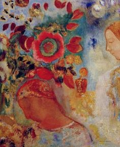 artemisdreaming: Two Young Girls Among Flowers Odilon Redon