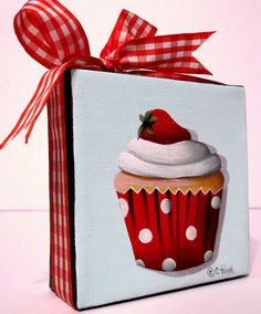 Image detail for -Catherine Holman Folk Art: Strawberry Shortcake Cupcake Painting and ...