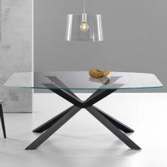 Eurosedia - Tavolo Steel struttura fissa in vetro ceramicato ardesia ...