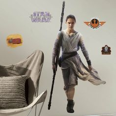 Take your first steps into a larger world with this set of Star Wars Episode VII: The Force Awakens Rey Peel-and-Stick Giant Wall Decals. Use the force to take these pre-cut vinyl stickers and place them on your wall however you'd like. Vinyl Wall Stickers, Rey Star Wars, Star Wars Characters, Star Wars Episodes, Rey Force Awakens, Roommate Decor, Roommates, Diana, Stickers