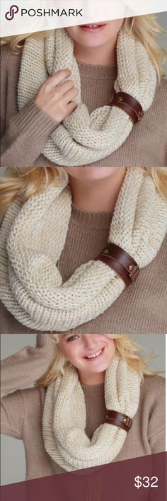 Knitted beige infinity scarf with leather cuff Thick knitted light beige infinity with genuine leather cuff/bracelet set. Material: 100% Acrylic. Warm and cozy. Pink Peplum Boutique Accessories Scarves & Wraps