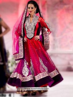 Chinese collar #anarkali #wedding #lehenga in ruby and tyrian purple color with full sleeves embellished flared #anarkali shirt and embellished dupatta http://www.needlehole.com/chinese-collar-anarkali-wedding-lehenga-in-ruby-and-tyrian-purple-color.html #JJ valaya #anarkali bridal #lehenga and #anarkali suits. Pakistani #anarkali lehenga, anarkali #churidar suits and anarkali shalwar kameez collection by JJ valaya bridal shop