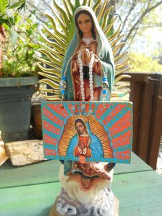 Guadalupe Virgin Mary Wood Icon Tag Plaque