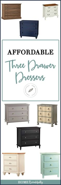 Hunting for a terrific and affordable three drawer dresser? Here are Home Beautifully's top pics for choosing a three drawer dresser. Three Drawer Dresser, Dresser Drawers, Bedroom Storage, Bedroom Decor, Bedroom Ideas, White Bedroom, Master Bedroom, Basement Guest Rooms, Basement Ideas