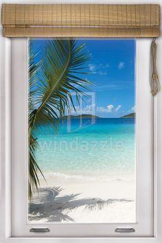 Wall decal faux window tropical beach view