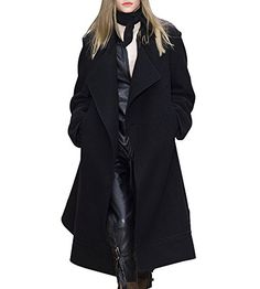 Hego Womens Autumn Winter Black Turndown Collar Long Wool Coat XL Black * Visit the image link more details. (This is an affiliate link) Casual Coats For Women, Pea Coats Women, Long Wool Coat, Down Coat, Autumn Winter Fashion, Women's Coats, Clothes, Image Link, Street Styles